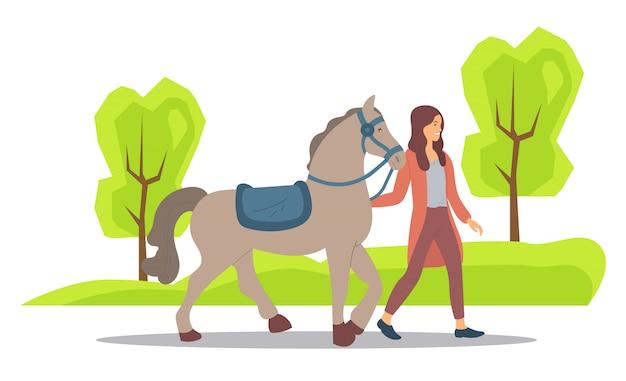 自然、公園または農場の森の女性と馬
