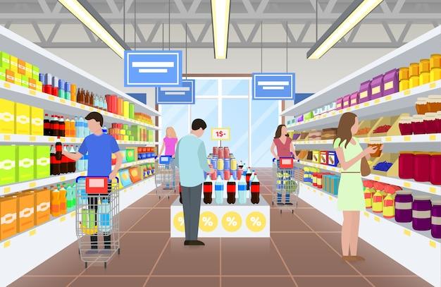イラストのスーパーマーケットの人々