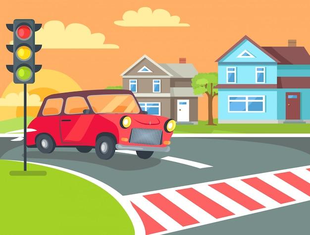 Пешеходный переход с светофора на дороге