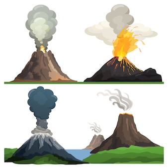 Извержение вулкана на иллюстрации белый