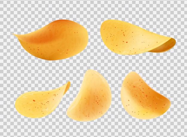 Хрустящие чипсы из картофельных ломтиков вектор