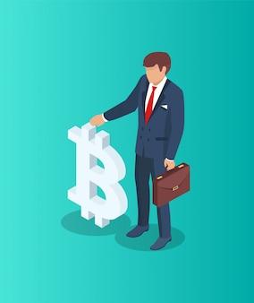 ビットコインのシンボルを持ったビジネスマン