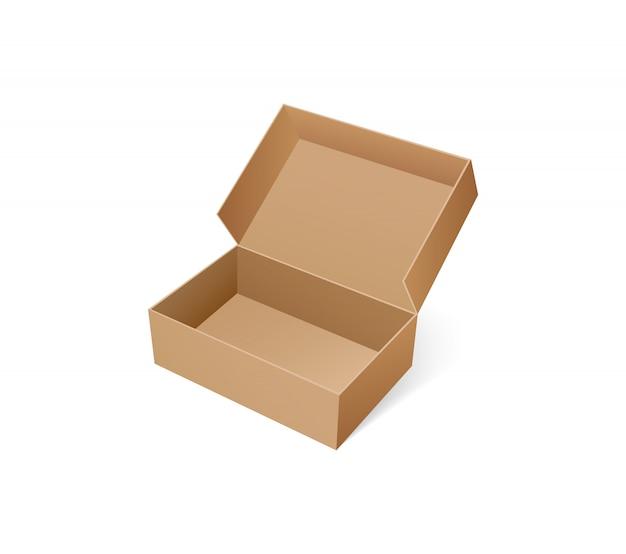 靴を保管するためのオープンボックス。空のカートン容器