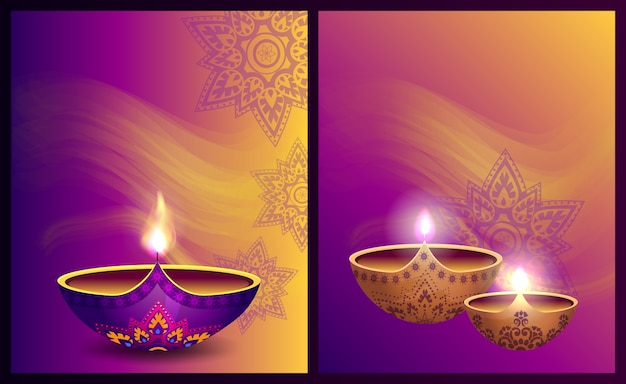 光のベクトル図のハッピーディワリ祭