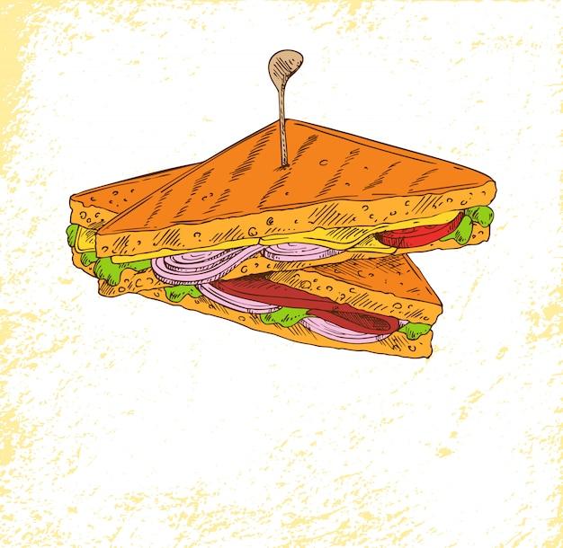 Бутерброд с луковым салатом, мясом и вкусным сыром