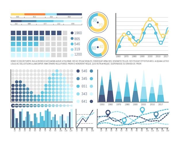 タイムラインと番号情報を含むインフォグラフィック