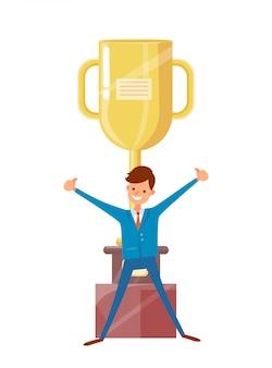 Человек в костюме поднял руки вверх, большой золотой кубок