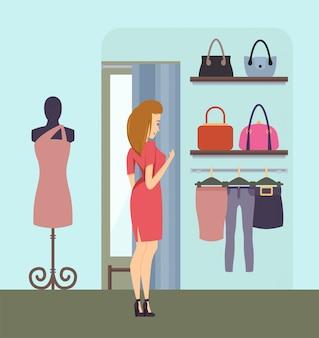 ストアベクトルでハンドバッグを選択するショッピング女性