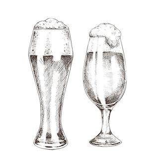 泡沫エールのグラフィックアートとビールのゴブレットのペア
