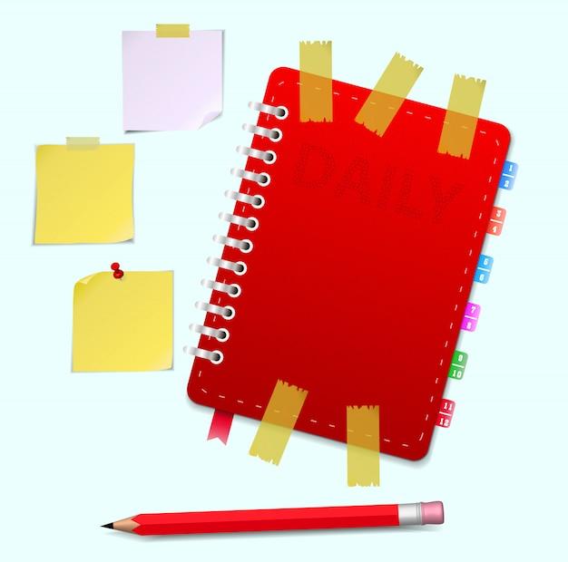 Кожаный блокнот и карандаш векторная иллюстрация