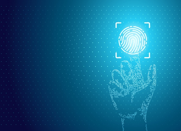 Идентификация отпечатков пальцев плакат цифровые данные