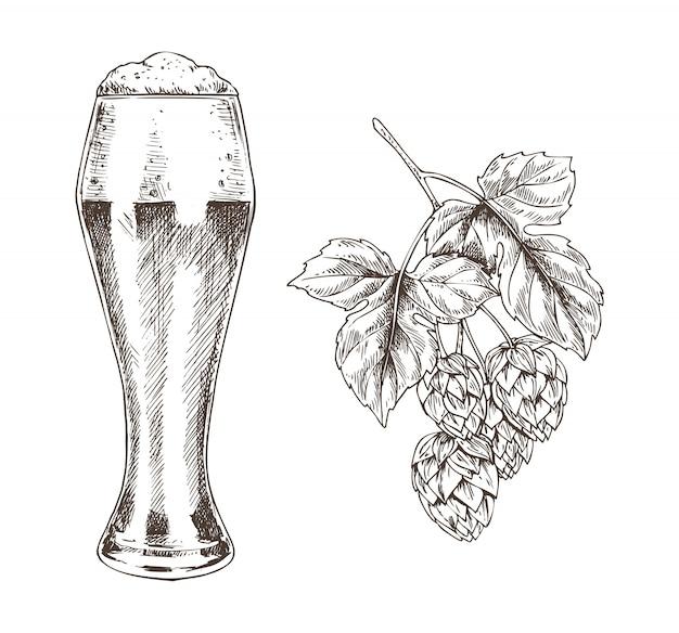 ホップブランチとビールゴブレットイラスト