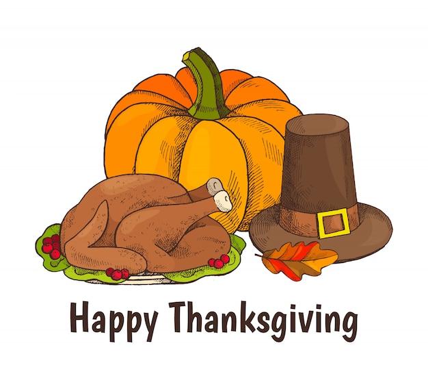幸せな感謝祭の七面鳥と野菜のポスター