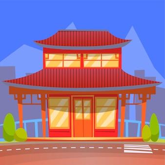 オリエンタルスタイルの中国料理または和食レストラン