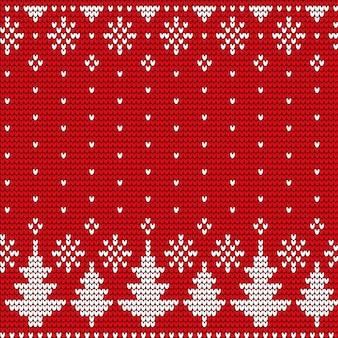モミの木とスノーフレークのシームレスなパターン、クリスマスベクトル