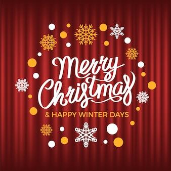 С рождеством поздравительная открытка, счастливые зимние дни распродажа вектор