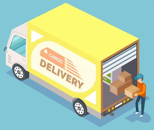 Доставка грузов мебели, переезд вектор