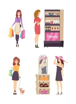 若い女性のショッピング活動セットベクトル