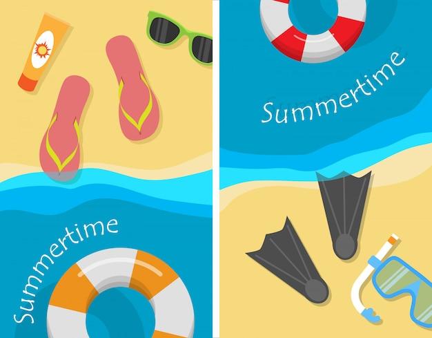 夏とビーチでの休暇のイラストセット。