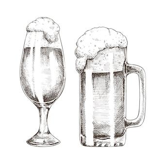 キラキラエールゴブレットと泡沫ビールのグラフィックアート