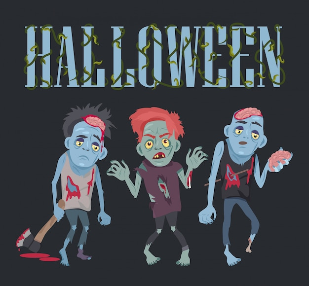 Хэллоуин с зомби векторная иллюстрация