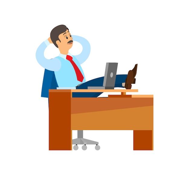 Босс работник компании, перерыв на рабочем месте