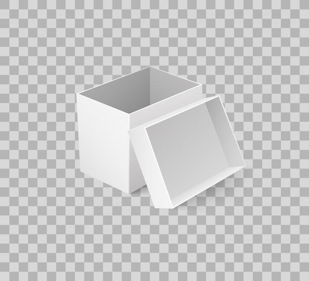 オープンキャップの空のコンテナーとパッケージボックス