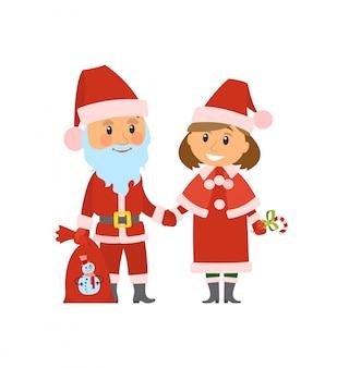 サンタクロースと伝統的な衣装のヘルパー