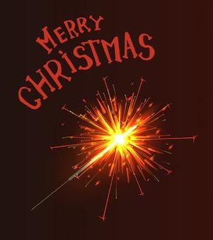 メリークリスマスグリーティングテキスト線香花火火を燃やす