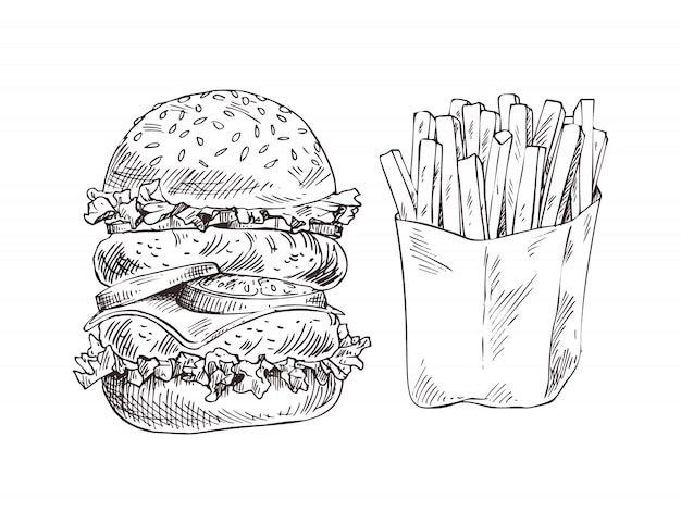 Огромный гамбургер и картофель фри