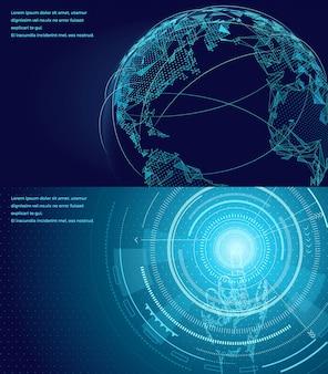 国際的なグローバルコミュニケーションの背景のネットワーキングのシンボル。無線接続技術コミュニティによる世界地図の概念