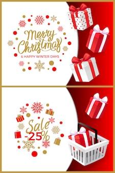 Плакаты с рождеством и счастливыми зимними днями