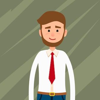 ひげを生やした若い男フラットキャラクター