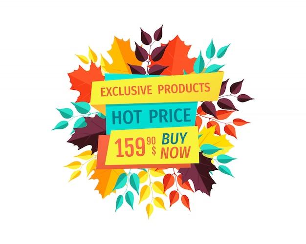 排他的な製品の秋のセールバナーのホット価格