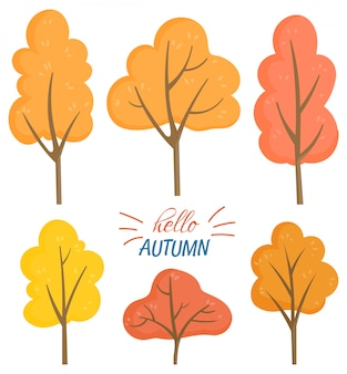 Привет осень набор желтых и оранжевых деревьев