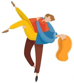 Мужчина и женщина обнимаются в осеннем парке