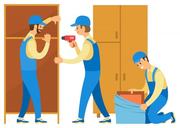 家の商品や家具を開梱するローダー