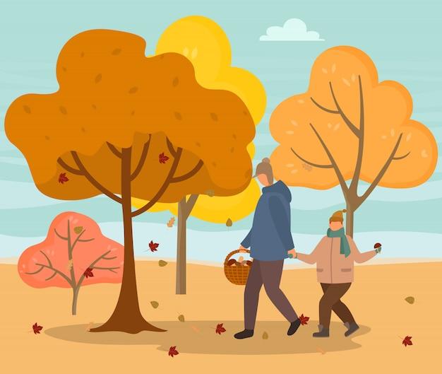 Папа и сын собирают грибы в осеннем лесу