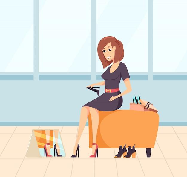 新しいハイヒールを着て、購入する女性