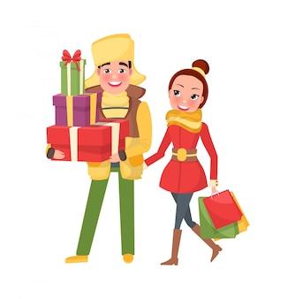 クリスマスイブの準備をして幸せな若い家族