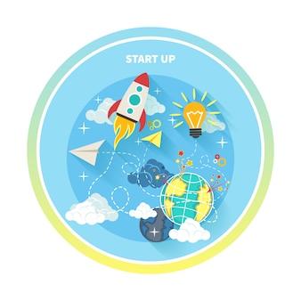 Бизнес-исследование запускает идею. запустите ракетную идею. запуск нового бизнес-проекта, запуск нового продукта