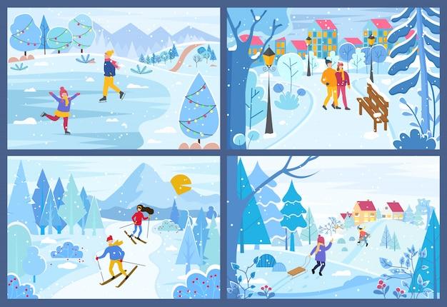 公園セットの人々の冬のクリスマス休暇