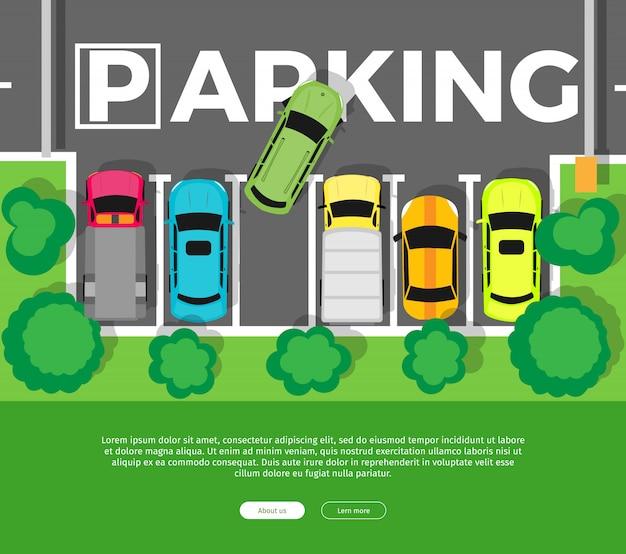 フラットスタイルの駐車場トップビュー