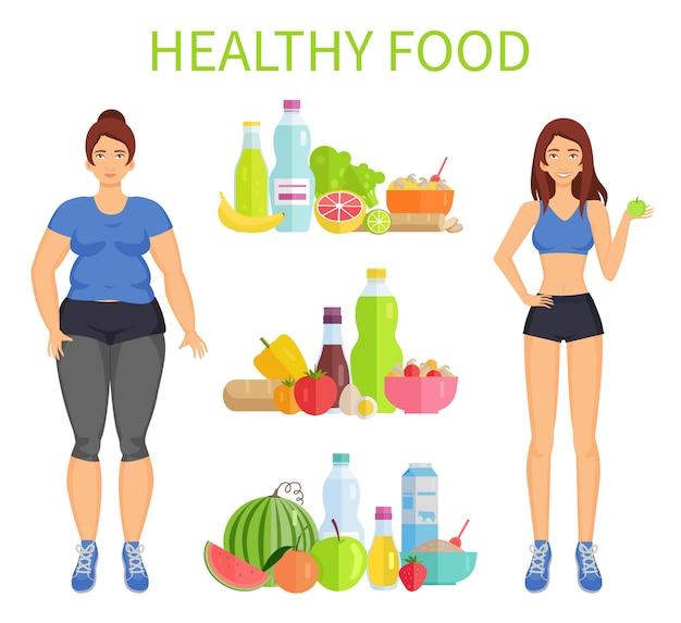 健康食品の女性と食事のベクトル図