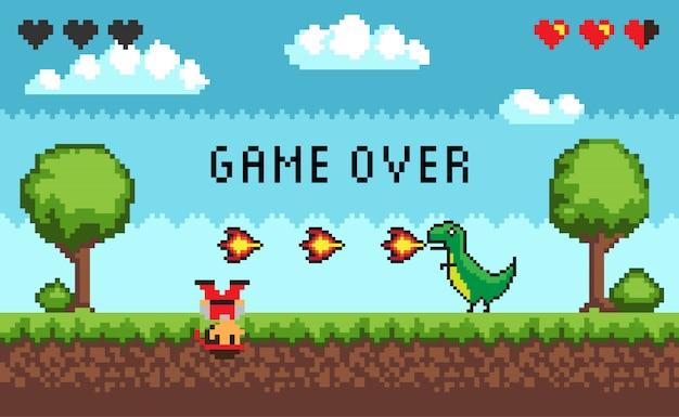 Герой битвы в пиксельной видеоигре