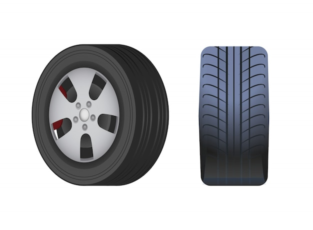 ゴム製の車の車輪、黒いタイヤ分離アイコン