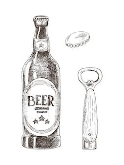 Пиво и открывалка для бутылок с крышкой, изолированные на белом