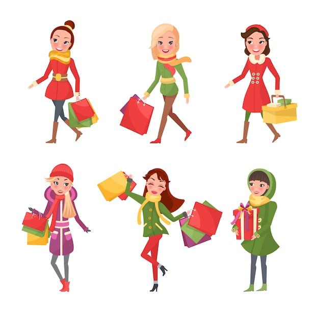 クリスマス休暇、ショッピングプレゼントの女性