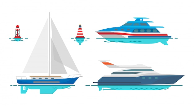Современные моторные яхты и белый парусник на воде