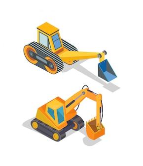 Экскаватор и бульдозер промышленные машины иконки